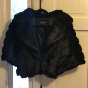 INC Black Faux Fur Shrug - Medium